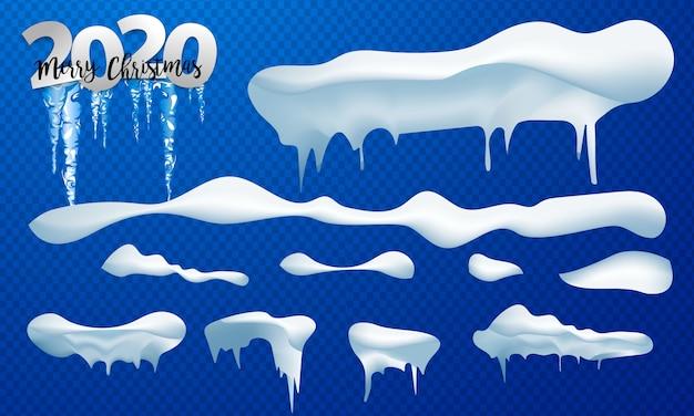 Zestaw nakryć śniegiem, śnieżkami i zaspami. kolekcja wektor czapka śnieżna. zimowa dekoracja