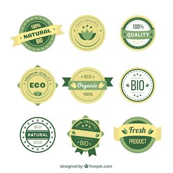 Zestaw nalepek ekologicznych produktów