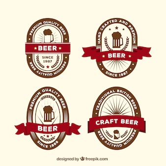 Zestaw nalepek piwa w stylu retro z wstążką