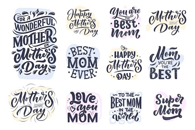 Zestaw napis na dzień matki i abstrakcyjne kształty na kartę podarunkową