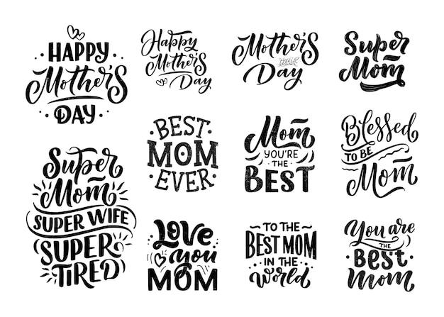 Zestaw napis na dzień matki karty upominkowej