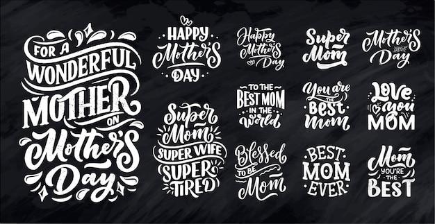 Zestaw Napis Na Dzień Matki Karty Upominkowej. Premium Wektorów