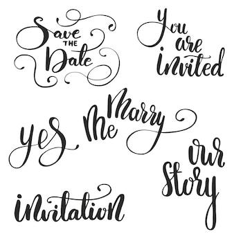 Zestaw napis na ślub. ilustracji wektorowych.