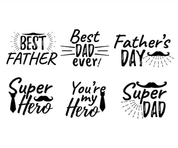 Zestaw napis szczęśliwy dzień ojca. najlepszy ojciec. najlepszy tata kiedykolwiek. super bohater