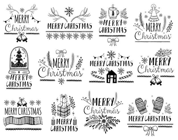 Zestaw napis wesołych świąt dla karty z pozdrowieniami