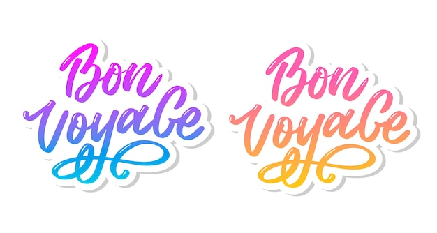 Zestaw napisów bon voyage hand