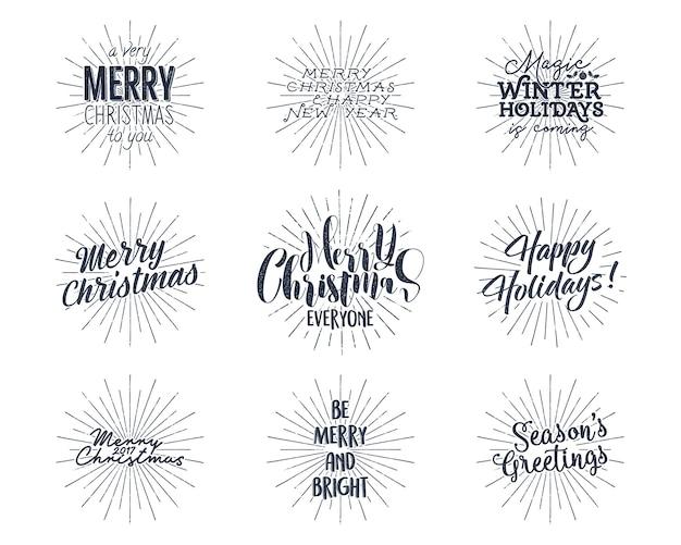 Zestaw napisów boże narodzenie, nowy rok, życzenia, powiedzenia i etykiety vintage.