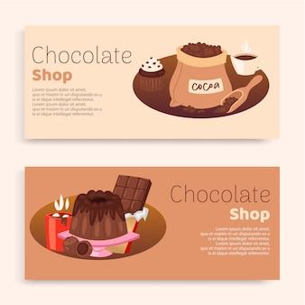 Zestaw napisów chocokate shop, koncepcja ciasta, słodkie tło, ornament graficzny, ilustracja. produkt dekoracyjny, sztuka, symbol kakao, etykieta cukierków, pyszne ciastko.