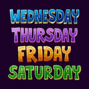 Zestaw napisów dni tygodnia