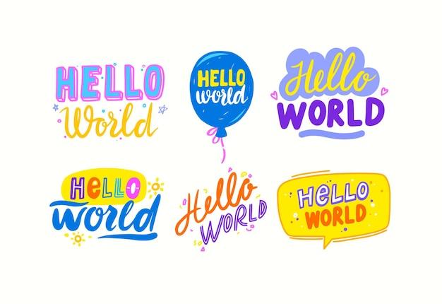 Zestaw napisów na baby shower kartkę z życzeniami lub zaproszenie. typografia, ręcznie napisana czcionka z elementami doodle