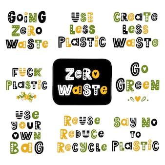 Zestaw napisów na temat zero waste w stylu skandynawskim