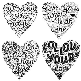 Zestaw napisów o miłości na walentynki w kształcie serca