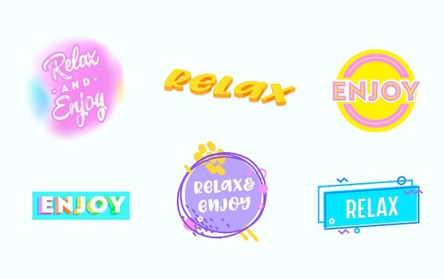 Zestaw napisów relax, zestaw napisów good vibes motivation