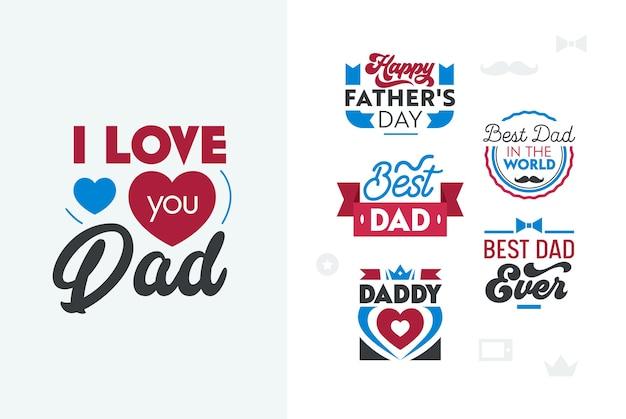 Zestaw napisów szczęśliwy dzień ojców.