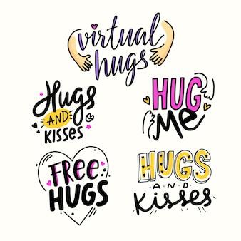 Zestaw napisów z uściskami i pocałunkami. ręcznie rysowane banery prosty styl z elementami doodle. światowy dzień miłości lub przyjaźni, t-shirt drukuje na białym tle. ilustracja wektorowa
