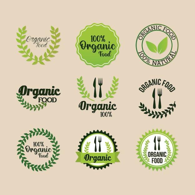 Zestaw napisów żywności ekologicznej na projekt ilustracji w jasnym kolorze