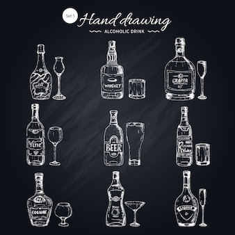 Zestaw napojów alkoholowych monochromatyczny