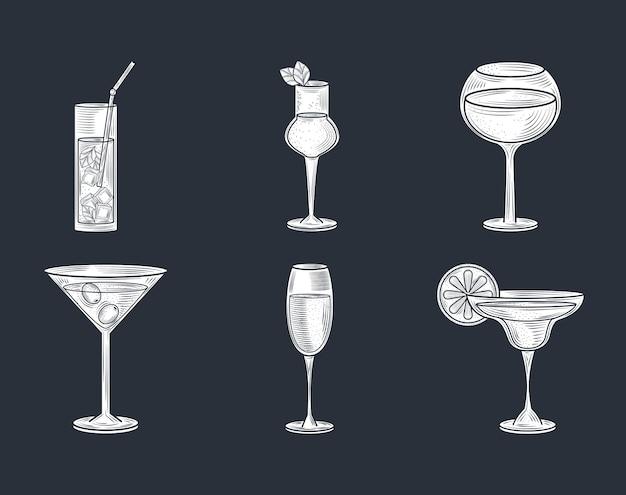 Zestaw napojów alkoholowych szkło, szampan, wino, martini, brandy, koktajle, ikony stylu cienkich linii wektor