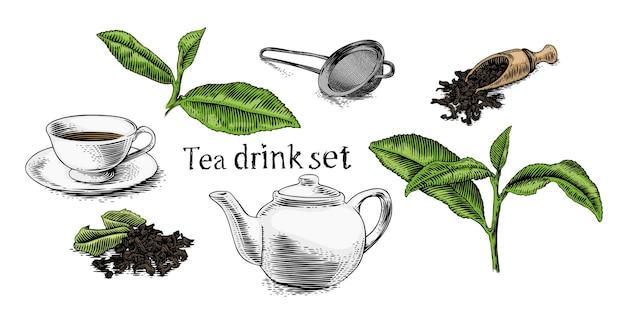 Zestaw napoju herbacianego (filiżanka, czajniczek, gałązka)