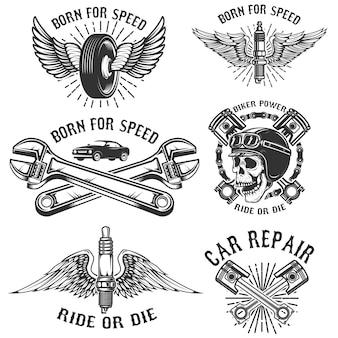 Zestaw napraw i wyścigowych emblematów samochodowych. świeca zapłonowa ze skrzydłami, czaszką wyścigową, tłokami i kołem. elementy logo, etykiety, znaczek. ilustracja