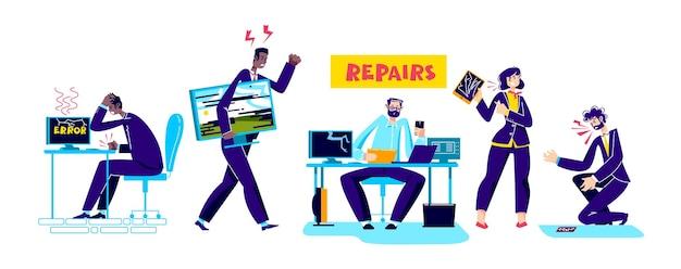 Zestaw naprawczy komputerów i gadżetów z osobami posiadającymi zepsute komputery, tablety i smartfony. postaci z kreskówek i koncepcja wsparcia technicznego. ilustracja wektorowa