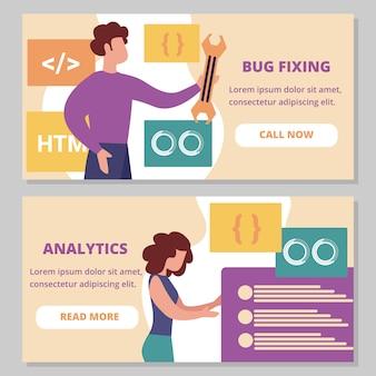 Zestaw naprawczych błędów i analytics poziome bannery