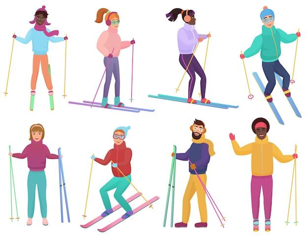 Zestaw narciarzy. mężczyźni i kobiety na nartach. modny płaski gradient.
