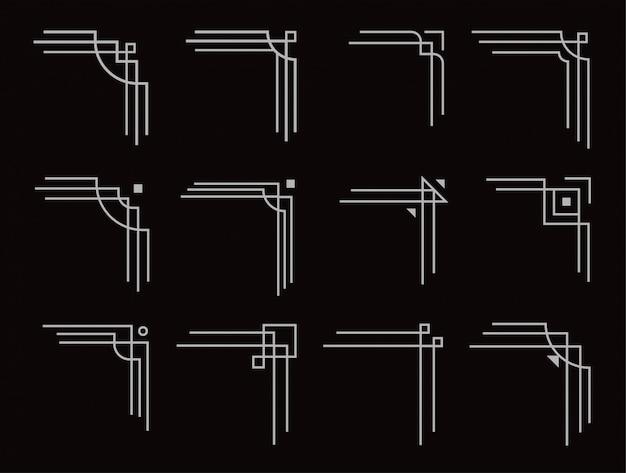 Zestaw narożników w stylu art deco, filigranowe geometryczne linie
