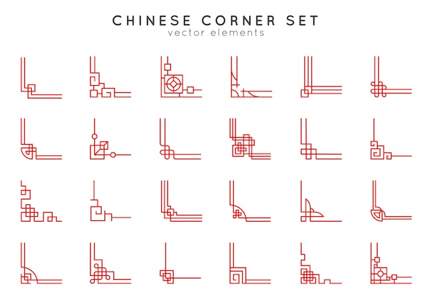 Zestaw narożny azjatycki wektor. tradycyjne chińskie ozdoby.
