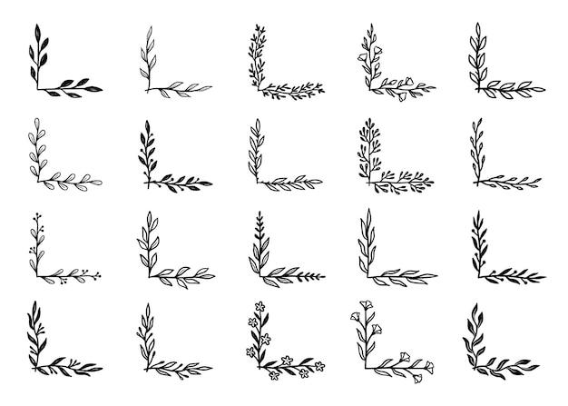 Zestaw narożny rozkwitać. ręcznie rysowane doodle narożnik stylu z rustykalnym kwiatowym elementem. wektor ilustracja granicy.