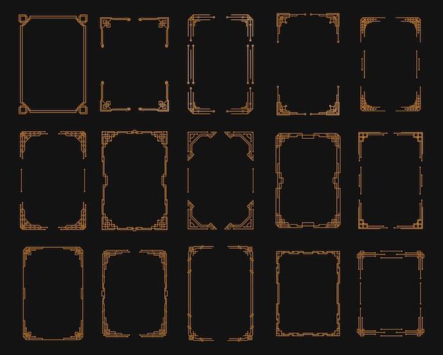 Zestaw narożny w stylu art deco. złoty szablon geometryczny w stylu lat dwudziestych xx wieku, narożniki artdeco do obramowań i ramek. zaproszenie, pozdrowienia wirujące elementy, barokowa grafika tuszem.