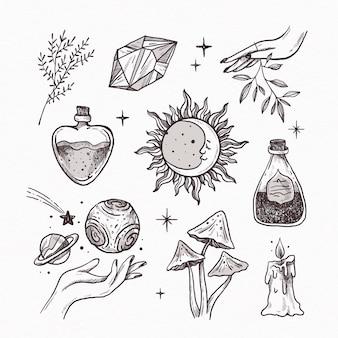 Zestaw narysowanych elementów ezoterycznych