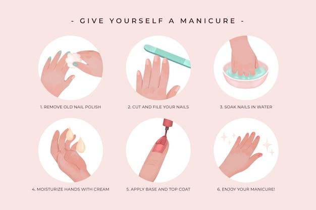 Zestaw narysowanych instrukcji do manicure