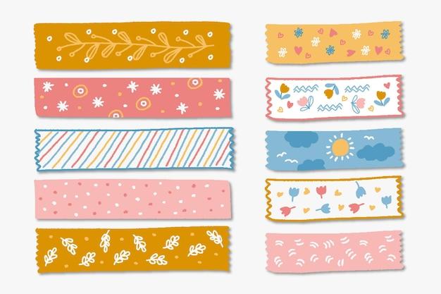 Zestaw narysowanych różnych taśm washi