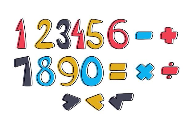 Zestaw narysowanych symboli matematycznych