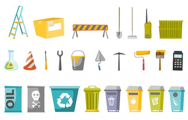 Zestaw narzędzi budowlanych i pojemników na odpady