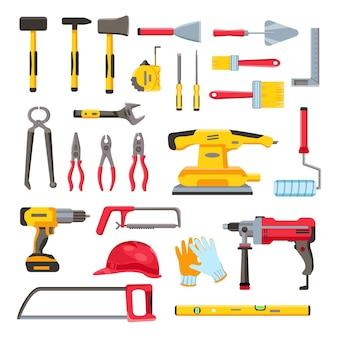 Zestaw narzędzi budowlanych. narzędzia do remontu i naprawy domu, klucz, kielnia, wiertarka elektryczna i śrubokręt. sprzęt do stolarki płaski wektor zestaw. ilustracja wałka i młot pneumatyczny, szczotka i klucz