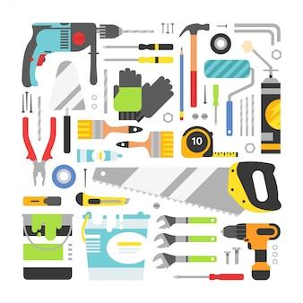 Zestaw narzędzi budowlanych płaskich elementów