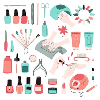 Zestaw narzędzi do manicure. akcesoria, zestaw wyposażenia: lakier do paznokci, pilnik, nożyczki, krem do rąk, wiertarka elektryczna, lampa uv, szczypce do skórek itp. profesjonalne studio, salon kosmetyczny. doodle ilustracja wektorowa