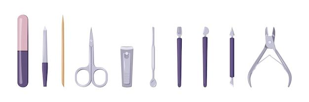 Zestaw narzędzi do manicure i pedicure.