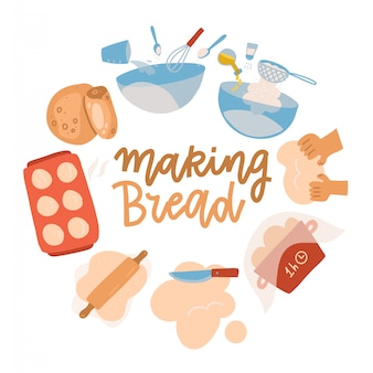 Zestaw narzędzi do pieczenia. sprzęt i składniki do wyrobu ciasta. przepis na chleb z mąką pszenną, wałkiem do ciasta, trzepaczką i sitkiem. pyszne wypieki. płaskie ilustracja kreskówka z napisem. okrągła koncepcja