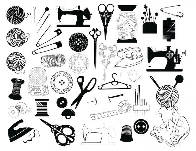 Zestaw narzędzi do szycia i cięcia. kolekcja materiałów do szycia.