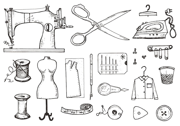 Zestaw narzędzi do szycia i materiałów lub elementów do robótek ręcznych. ręcznie robiony sprzęt.