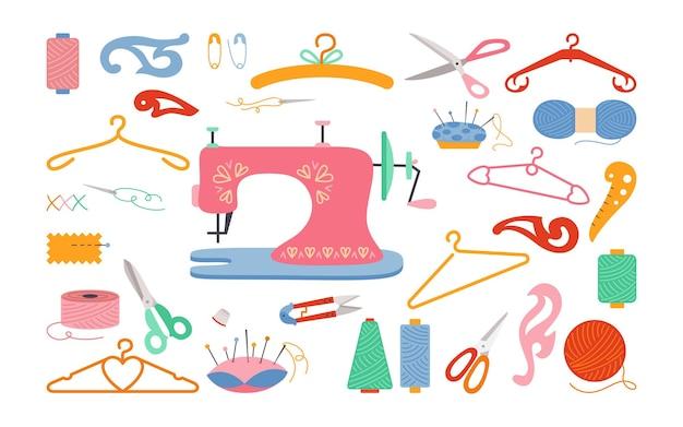 Zestaw narzędzi do szycia kreskówka, nić i nożyczki, przędza, igielnica, igła.