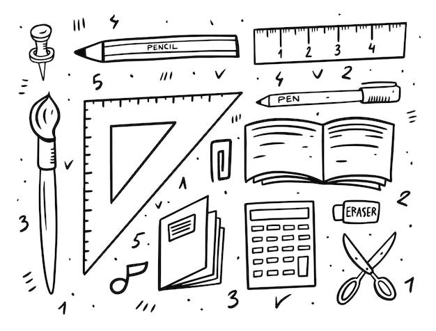Zestaw narzędzi elementów szkoły na białym tle