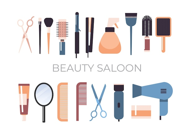 Zestaw narzędzi fryzjerskich i akcesoriów kolekcja koncepcja salon kosmetyczny poziome ilustracji wektorowych