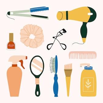 Zestaw narzędzi fryzjerskich, manicure, makijaż i kosmetyki kosmetyczne. prostownica do włosów, suszarka do włosów, grzebień, szampon, lusterko ręczne, pędzel, spray, zalotka, gumki i lakier do paznokci.