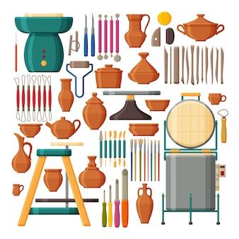 Zestaw narzędzi i urządzeń garncarskich. kolekcja glinianych naczyń.