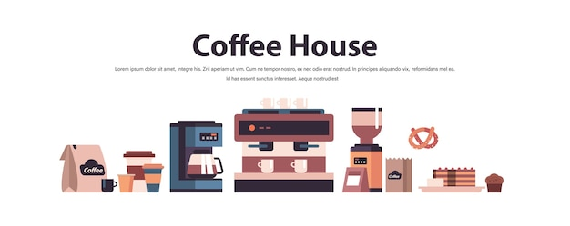 Zestaw narzędzi kawiarni i akcesoriów koncepcja kawiarni na białym tle pozioma kopia przestrzeń ilustracji wektorowych