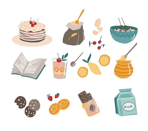 Zestaw narzędzi kuchennych i żywności